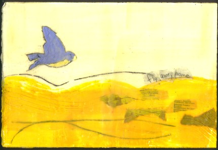 Fly away home encaustic